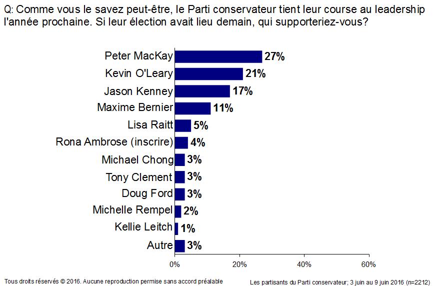La carte de l'élection du Parti conservateur